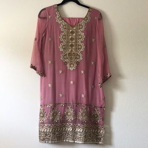 Pakistani Embroidered Shalwar Eid 3 Piece Outfit